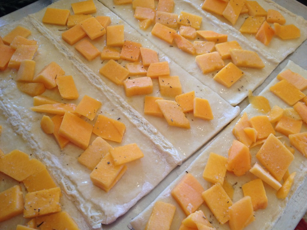 squash on pastry sheets
