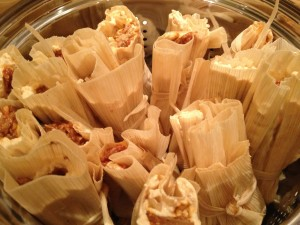 Fill the Steamer with Tamales wrapped in husks