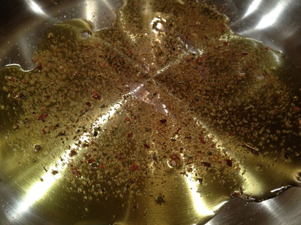 Spiced oil in pan