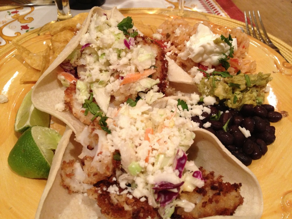 Crunchy Fish Tacos with Creamy Cabbage Slaw