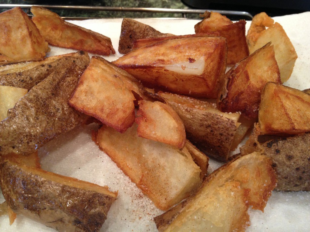 Fried Potato Wedges with Salt and Cayenne