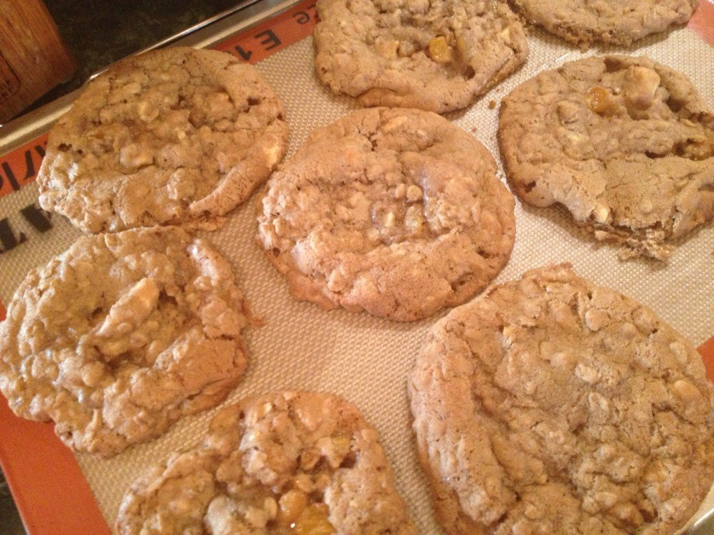 Apricot, Ginger, White Chocolate, & Granola Cookies