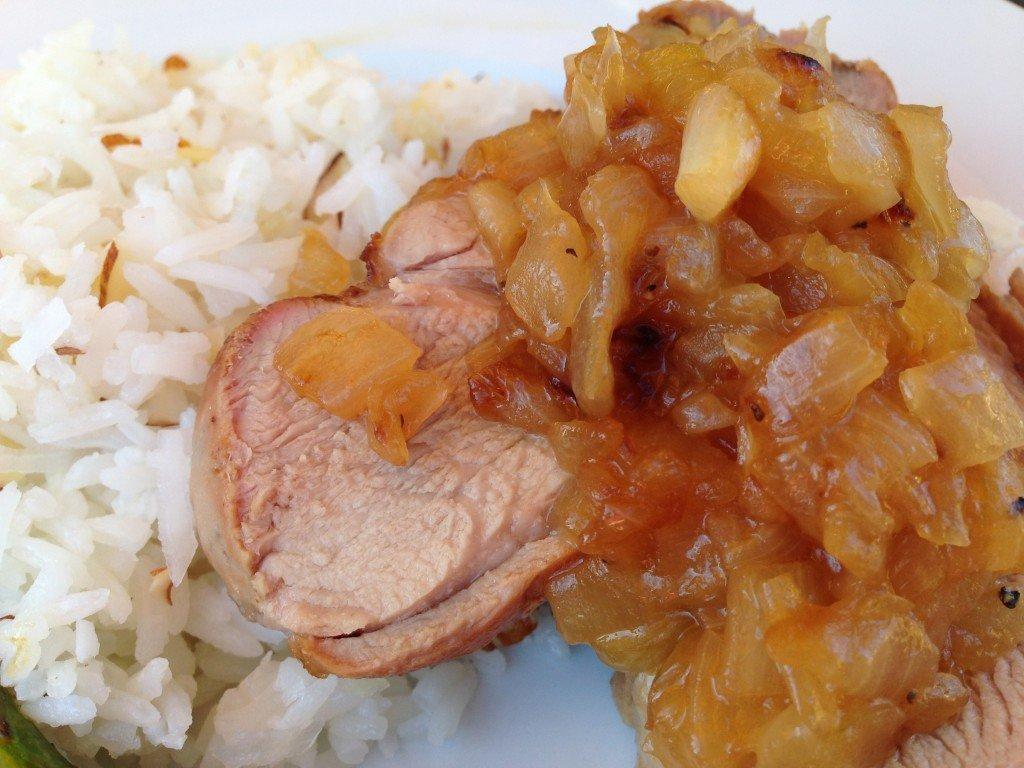 Pork Tenderloin Recipe   Hawaiian Style With Onion Marmalade