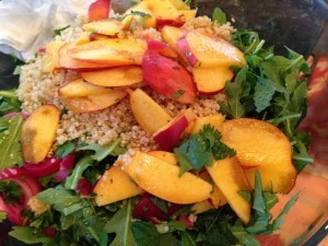 Quinoa Salad with Cool Peaches & Spicy Shrimp