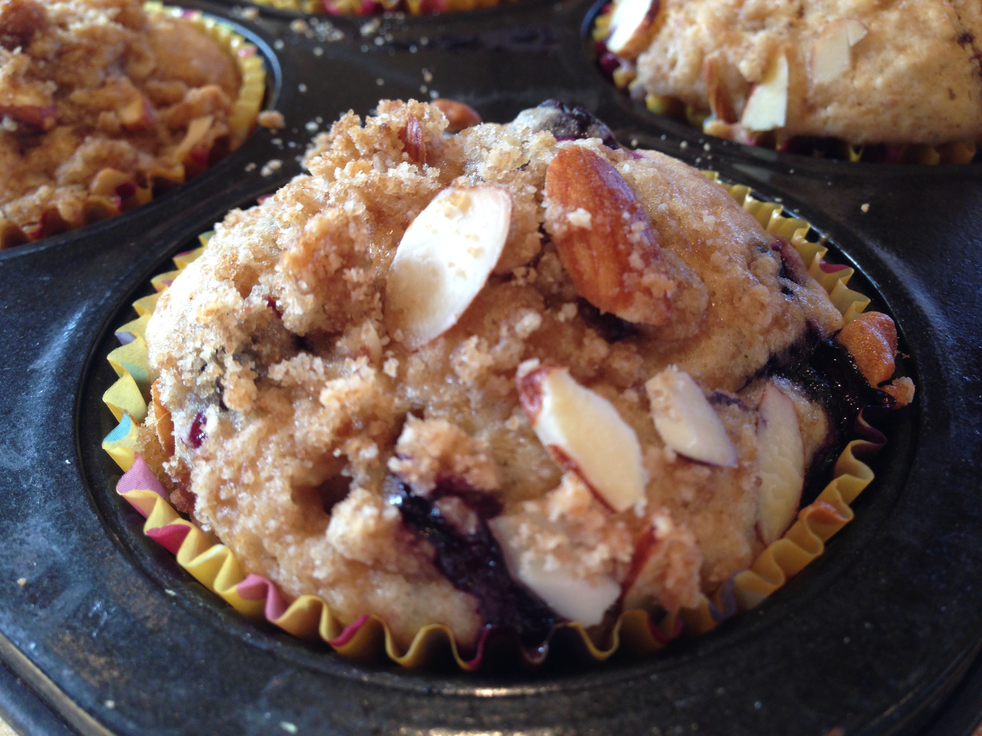 Blueberry Almond Muffins with Streusel Topping | The Brown Lounge